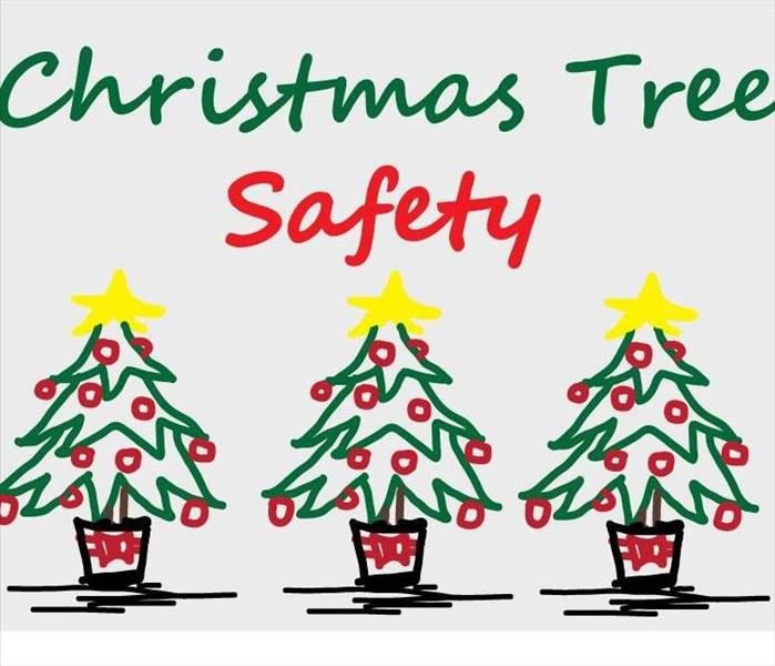 Three christmas trees with the words christmas tree safety
